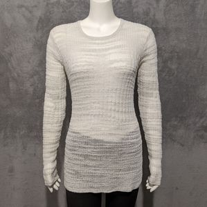 Helmut Lang white Eroded Threads knit sweater